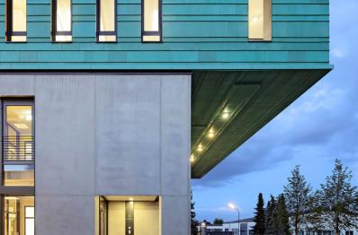 Collomix. Покрытие TECU Patina для офисного здания